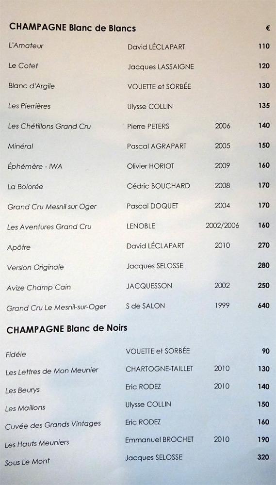 Champagnes Blancs de blancs et Blanc de noirs