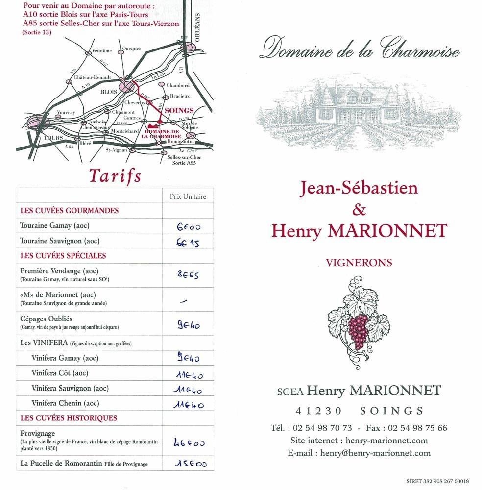 Tarif des vins du Domaine