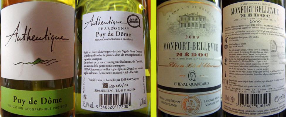 Les 2 vins servis au verre