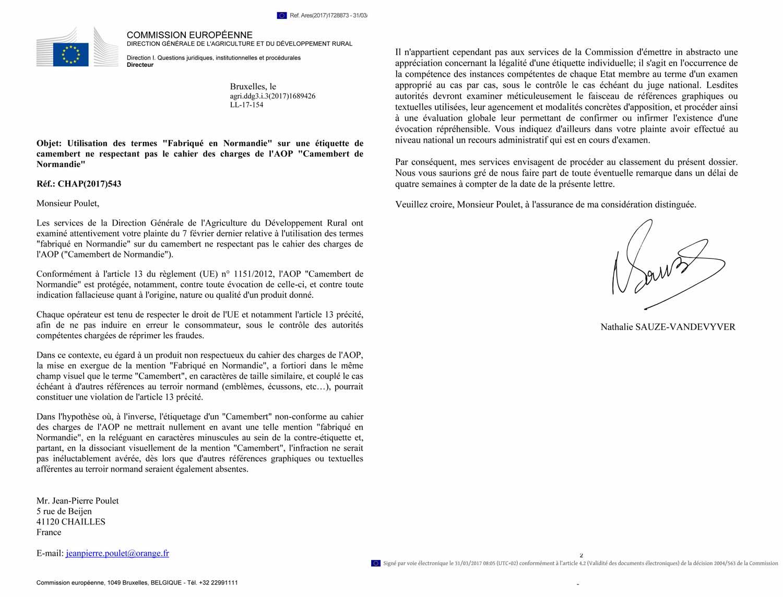 Seconde réponse de Bruxelles