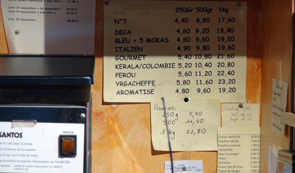 Prix des cafés