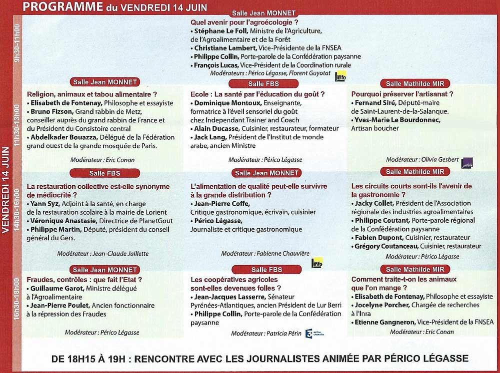 Programme du 14 juin 2013