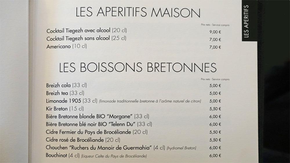 Apéritifs maison et boissons bretonnes