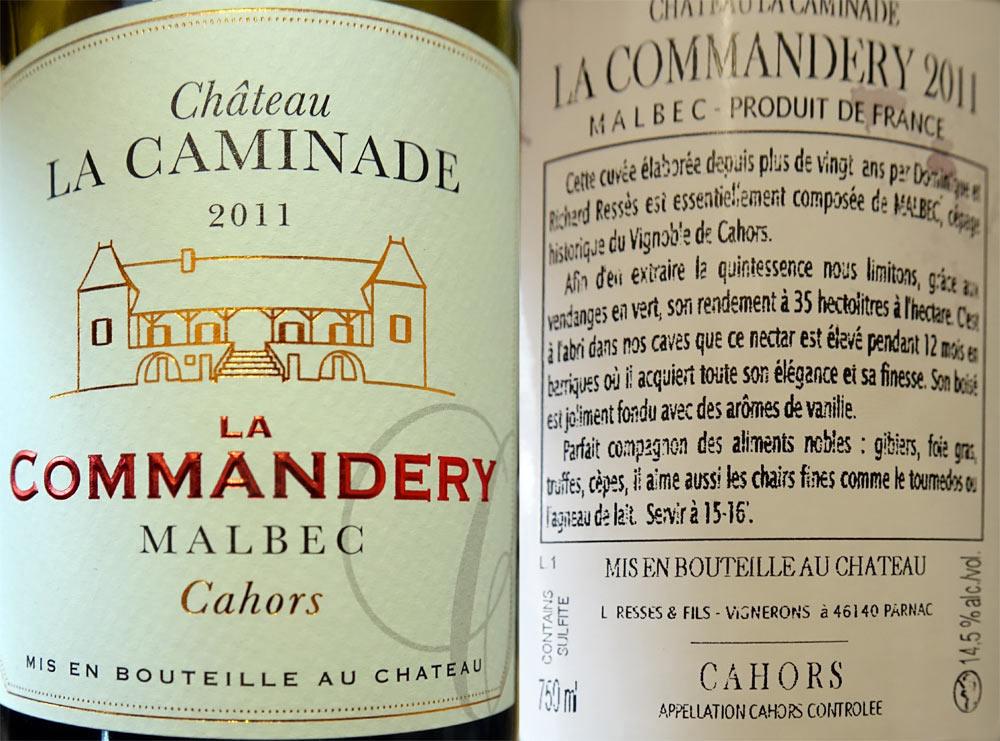"AOC Cahors 2011 Château La Caminade ""La Commandery"""
