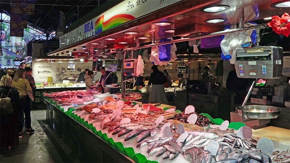 Un stand dédié aux produits de la mer