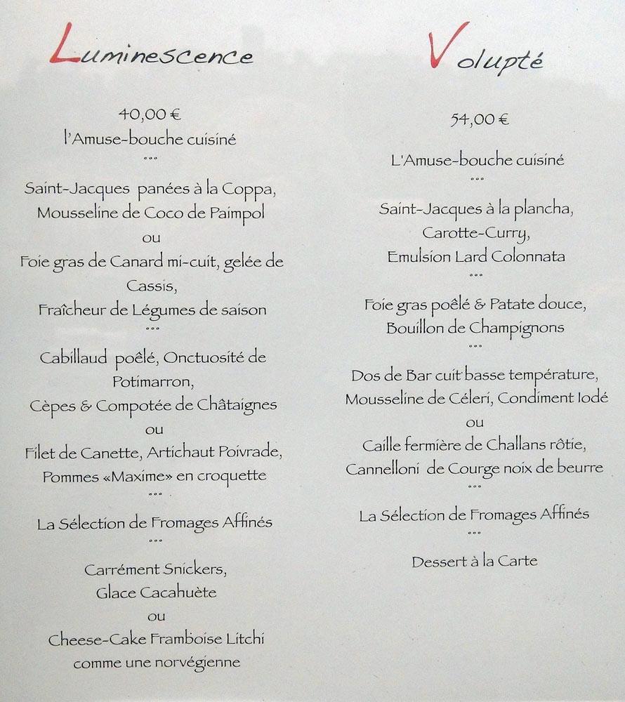 "Menus ""Luminescence"" et ""Volupté"""