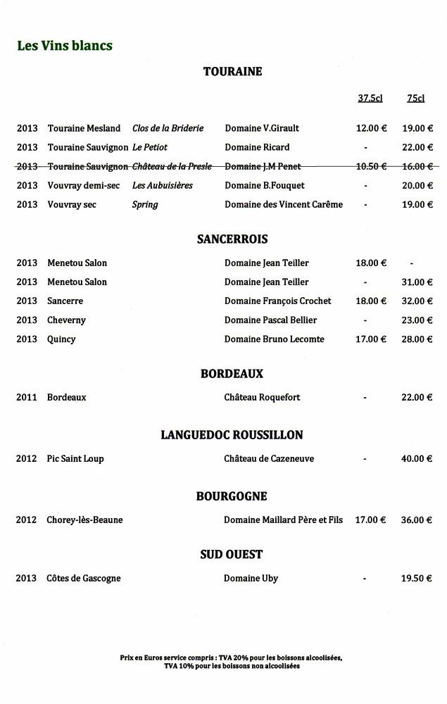 Vins blancs : Touraine, Sancerrois, Bordeaux, Languedoc-Roussillon, Bourgogne et Sud-Ouest