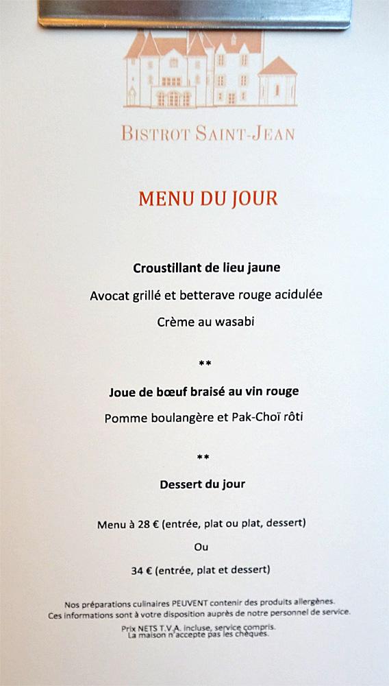 Premier menu, sans aucun choix ...