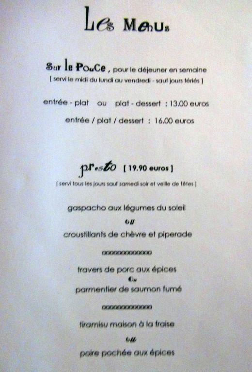 Menus à 13 € 00, 16 € 00 et 19 € 90
