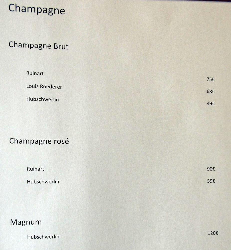 Carte des vins : Champagnes
