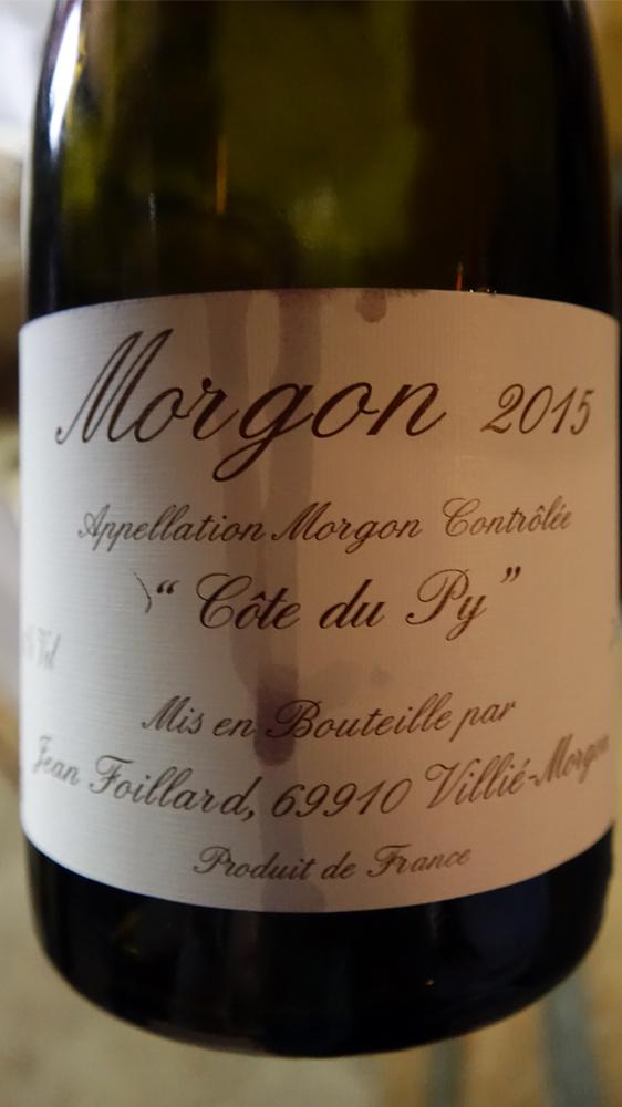 Morgon 2015 de Jean Foillard, un vin que j'avais adoré en millésime 2005 acheté en 2007 10 € 00