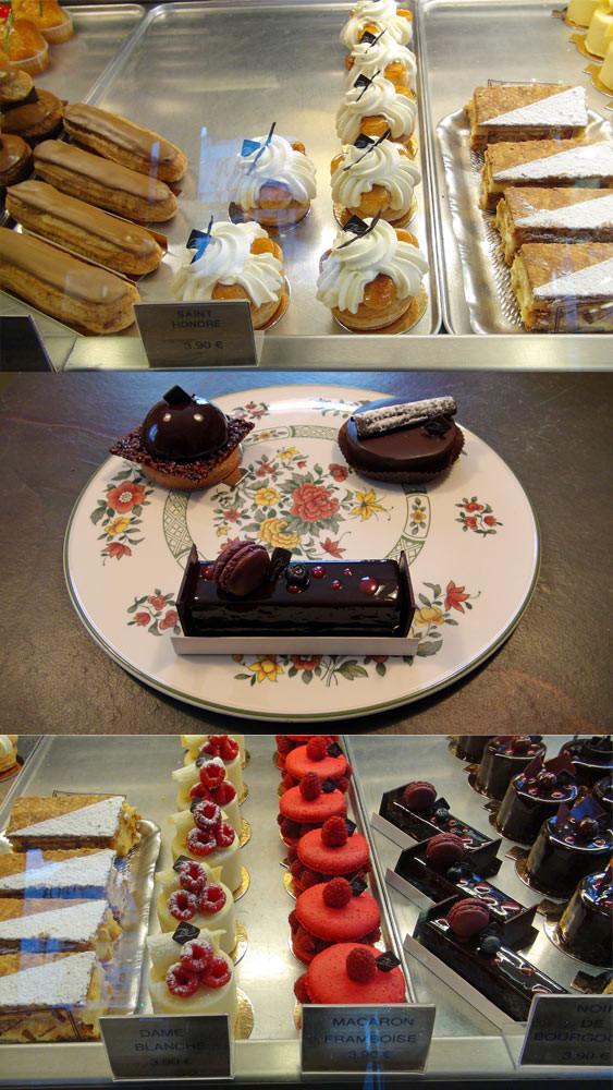 Eclair café, Saint-Honoré & Millefeuille - Grain de Folie, Nouveauté & Noir de Bourgogne - Dame blanche, Macaron framboise & Noir de Bourgogne