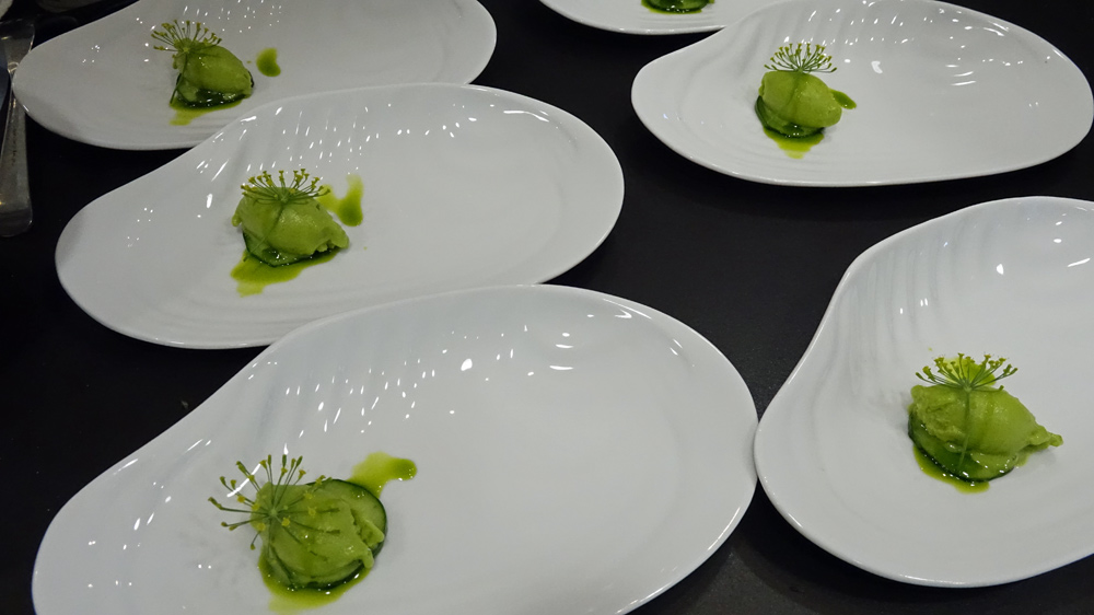 Dégustation du sorbet concombre au basilic