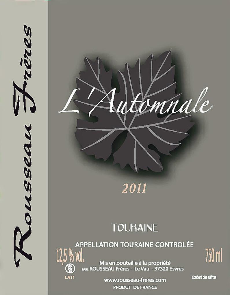 Étiquette L'Automnale 2012 - Source : site des frères Rousseau
