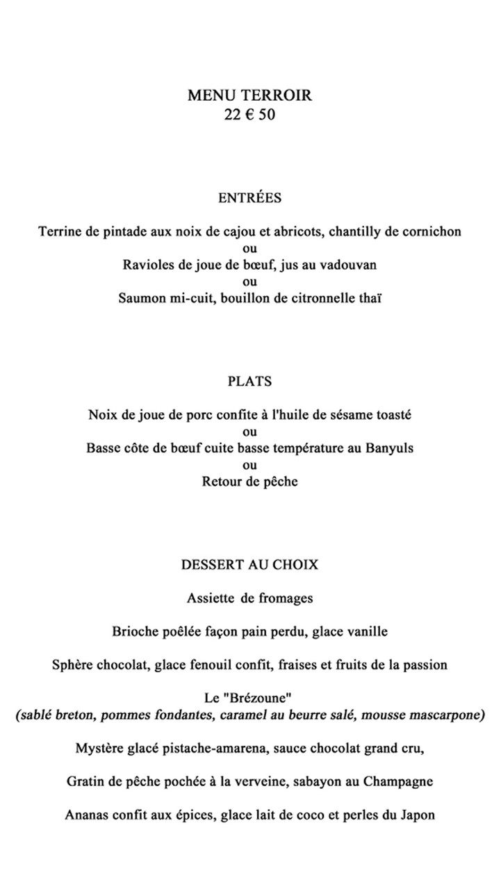 Menu Terroir à 22 € 50