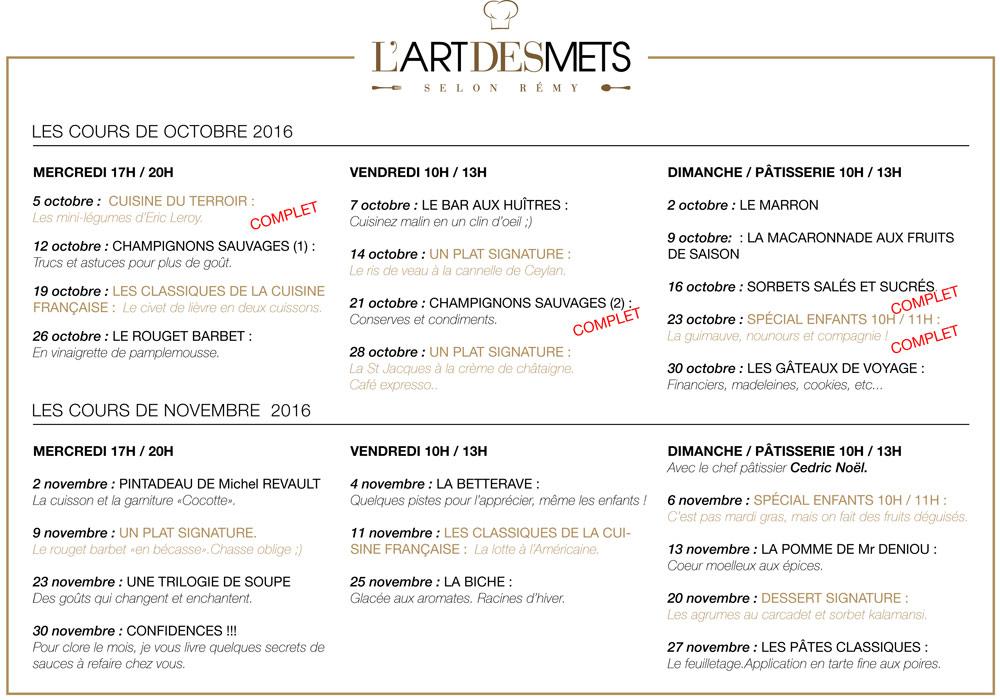 Le programme des cours d'octobre et novembre 2016