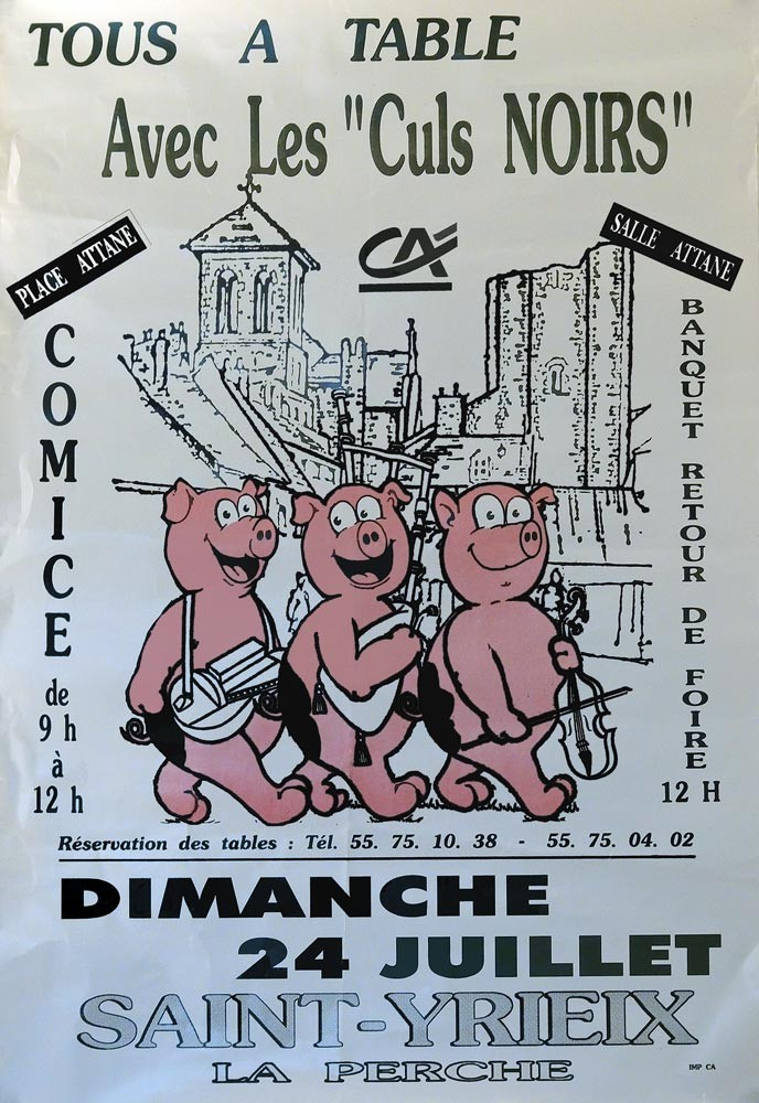 Affiche de la fête du Cul Noir à Saint-Yrieix en 1994