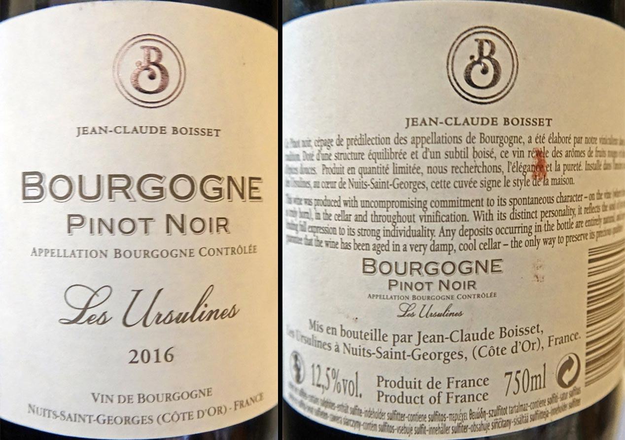 "Bourgogne Pinot noir 2016 ""Les Ursulines"""