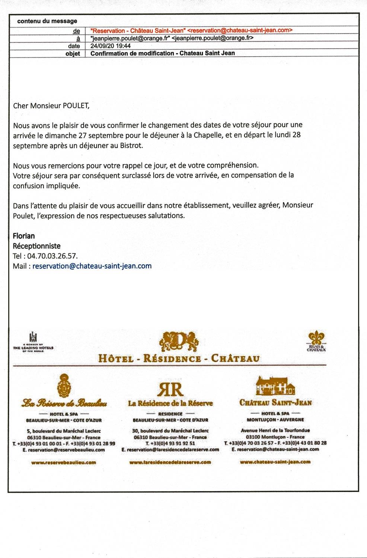 Second courriel de confirmation et surclassement