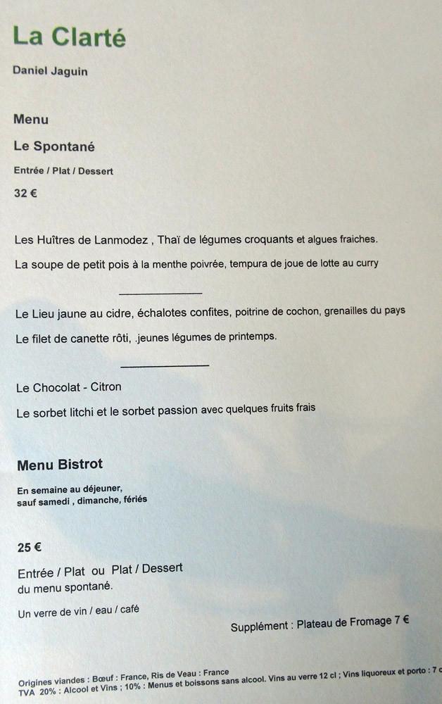 """Menu """"Le Spontané"""""""
