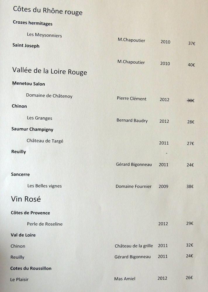 Carte des vins rouges et rosés : Côtes du Rhône - Vallée de la Loire ...