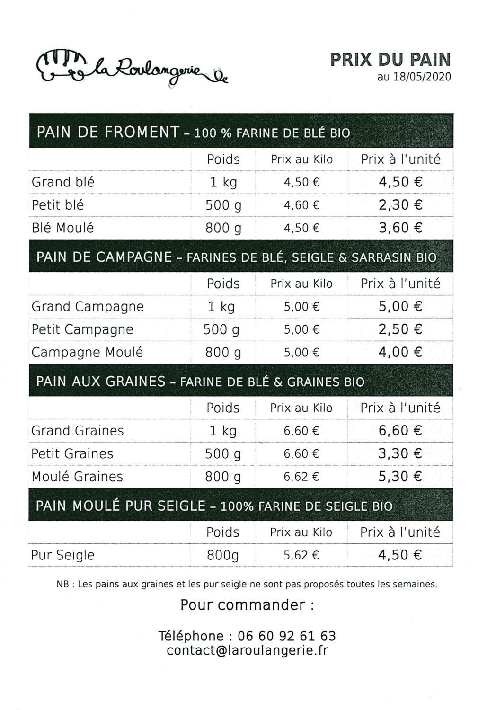 Tarif de vente des pains de La Roulangerie