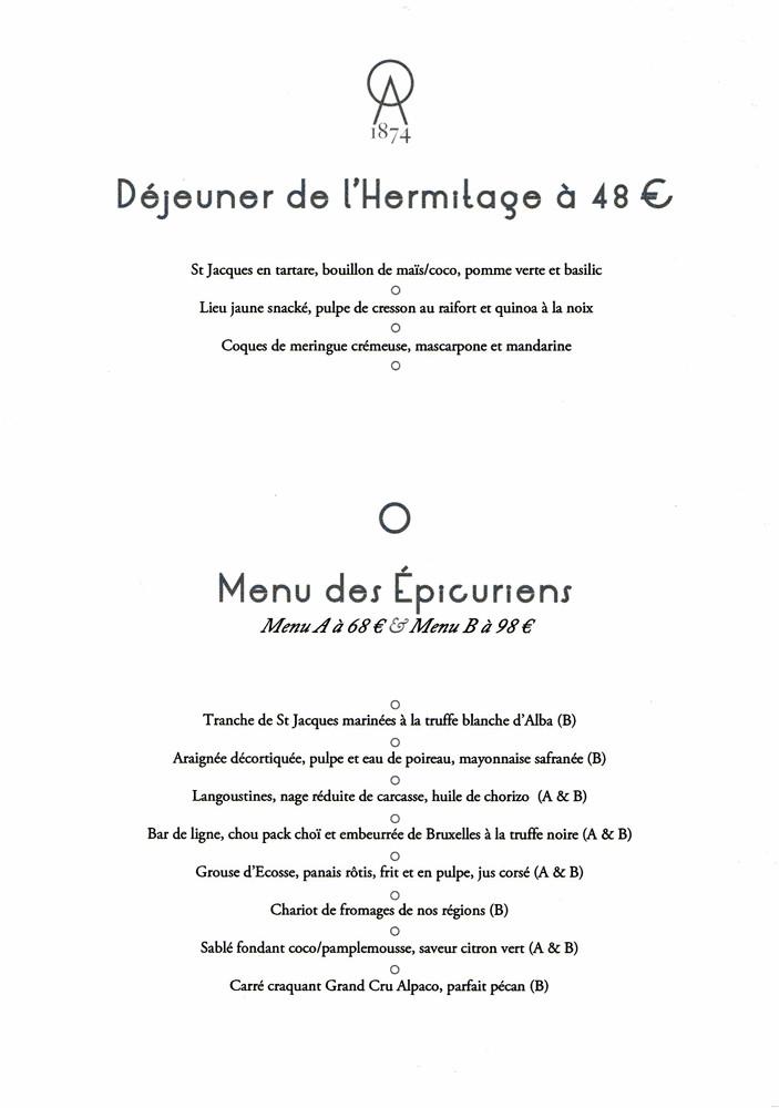 Déjeuner de l'Hermitage - Menu des Epicuriens
