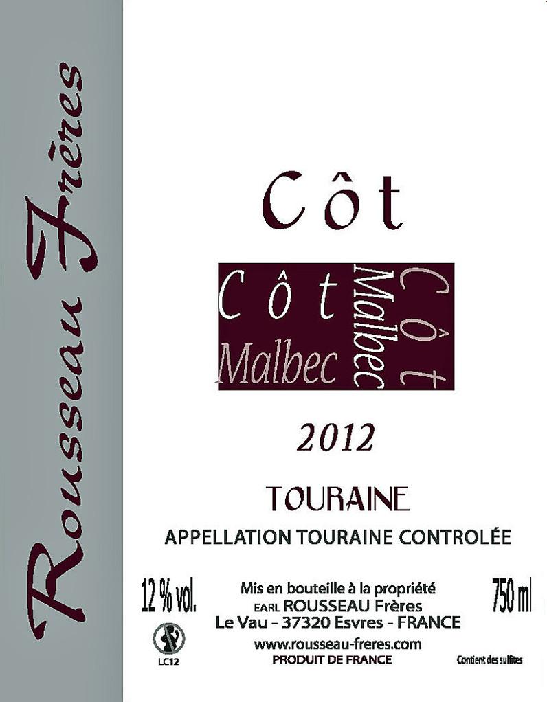 Étiquette Côt 2012 - Source : site des frères Rousseau