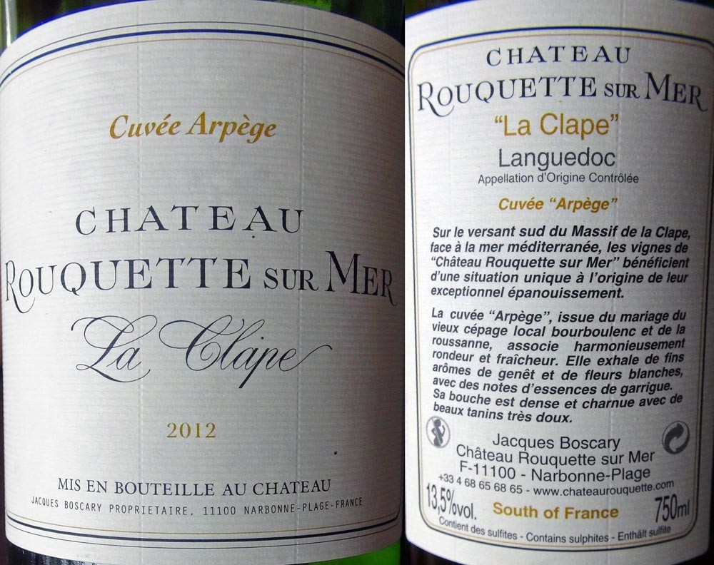 """Languedoc """"La Clape"""" 2012 du Château Rouquette"""
