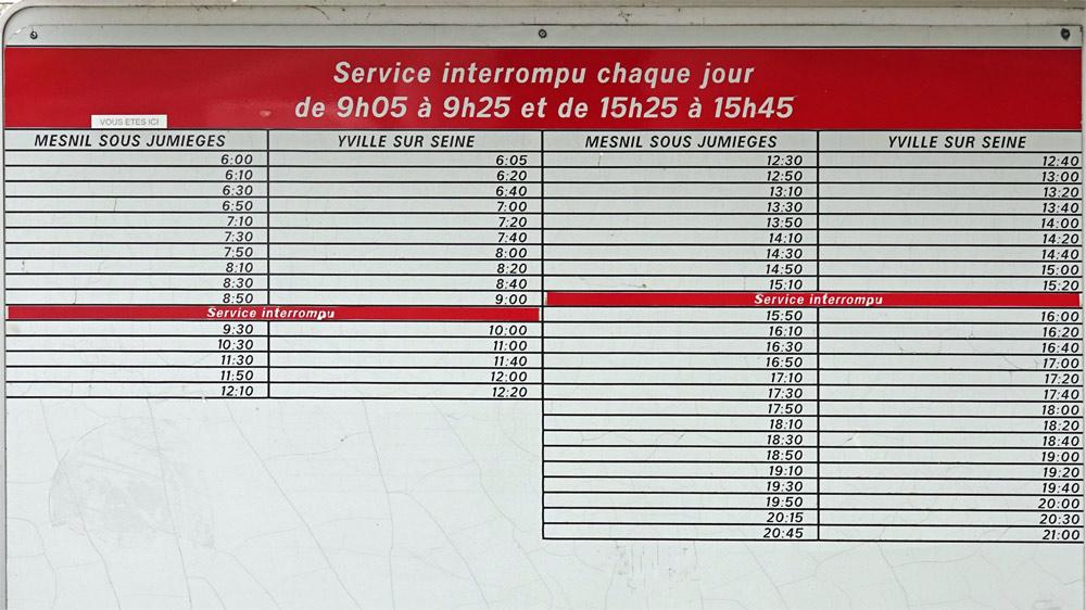 La grille des horaires de traversées