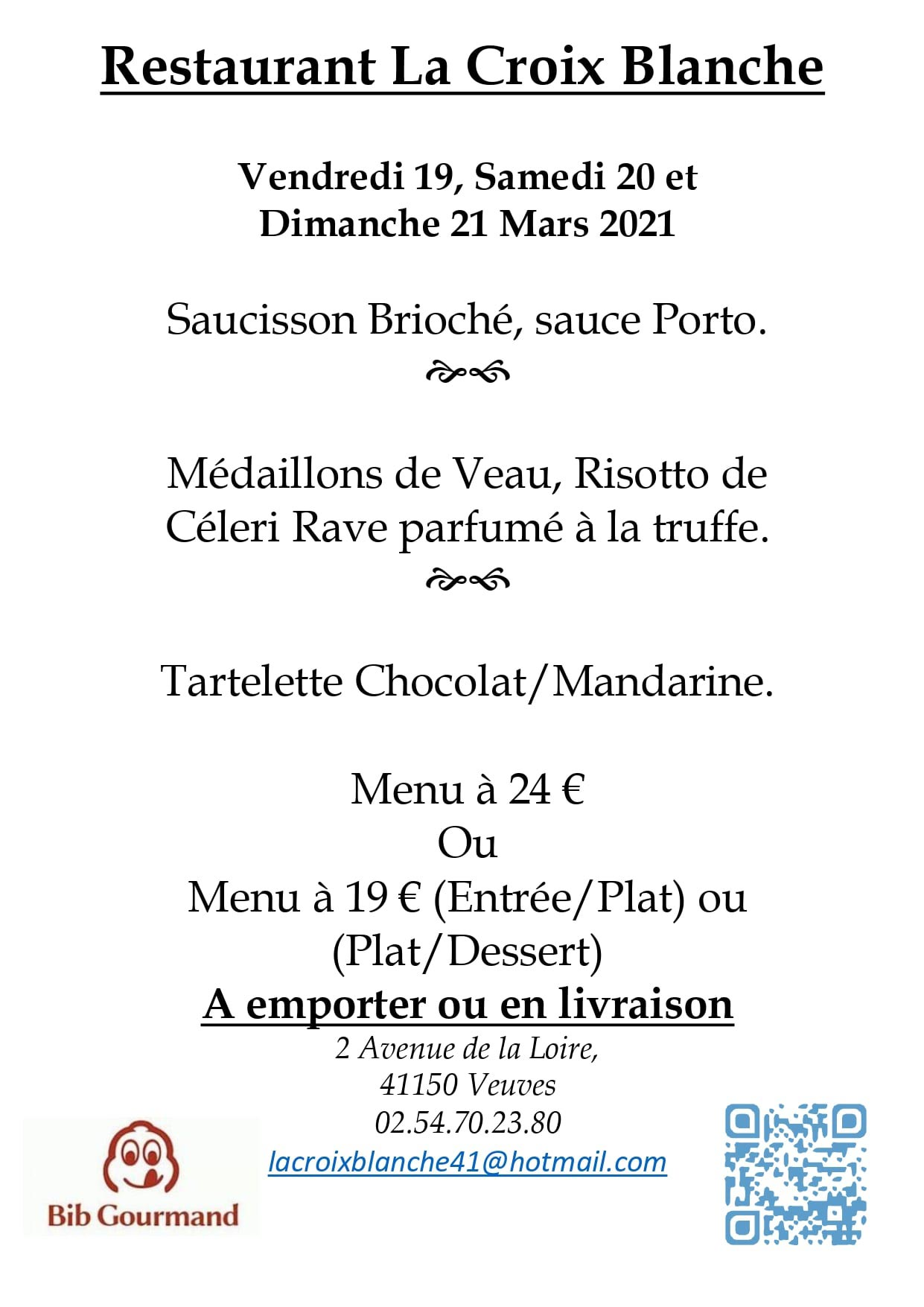 """Le futur menu - Crédit photo """"La Croix-Blanche"""""""