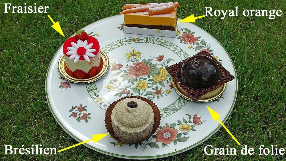 Les gâteaux choisis : Fraisier - Royal orange - Grain de folie - Brésilien