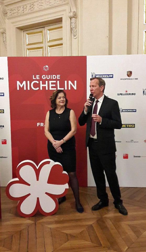 Claire Dorlan-Clauzel et Michael Ellis au Palais Brongniart le jeudi 9 février 2017 (Crédit photo Guide Michelin)