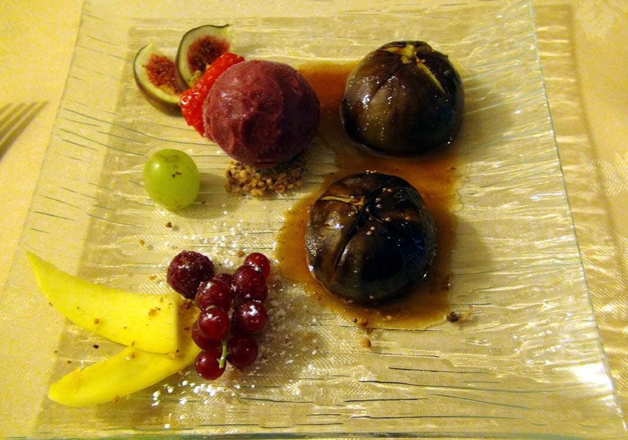 Figues rôties, sorbet griottes