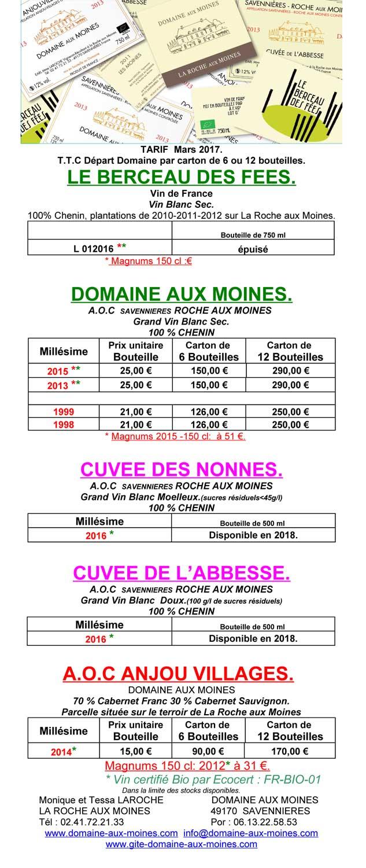 Tarif 2017 des vins disponibles