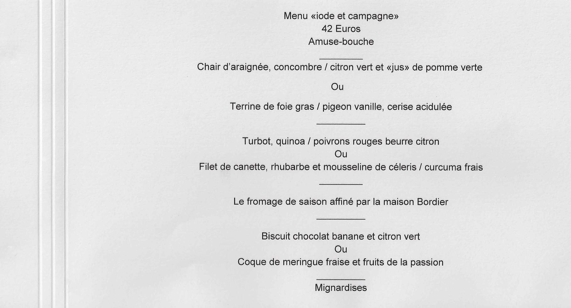 """Menu """"Iode et campagne"""""""
