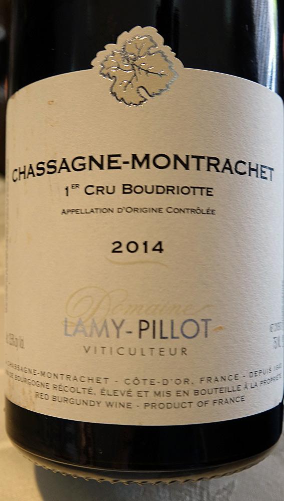 """Chassagne-Montrachet rouge 2014 1er cru """"Boudriotte"""" de Lamy-Pillot"""