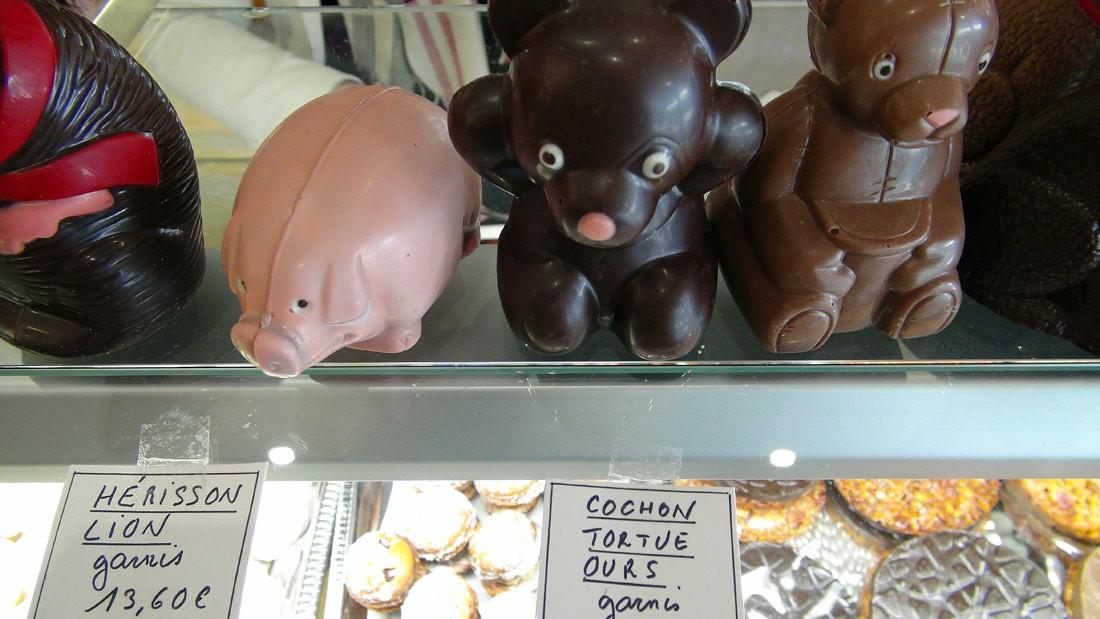 Chocolats de Pâques (Hérisson, lion, cochon, tortue et ours)