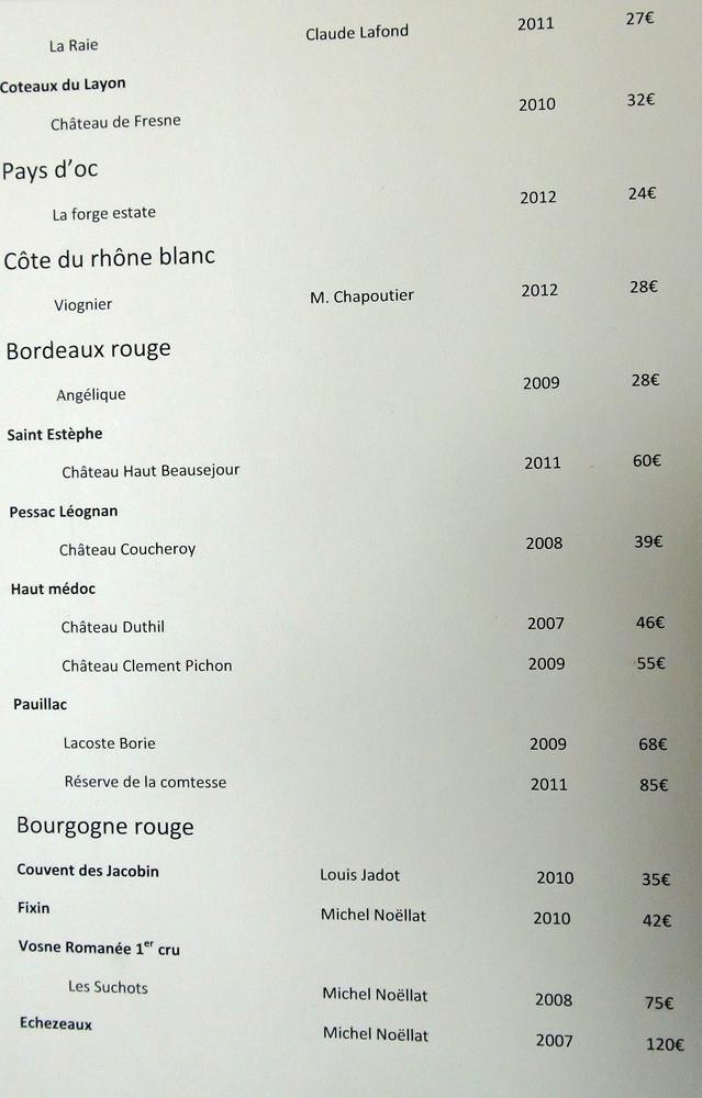 Carte des vins blancs et rouges : Pays d'Oc - Côtes du Rhône - Bordeaux - Bourgogne