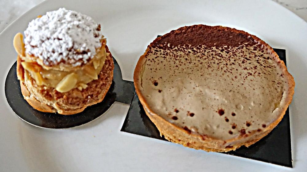 Chou praliné amandes - Tarte café et gelée d'agrumes