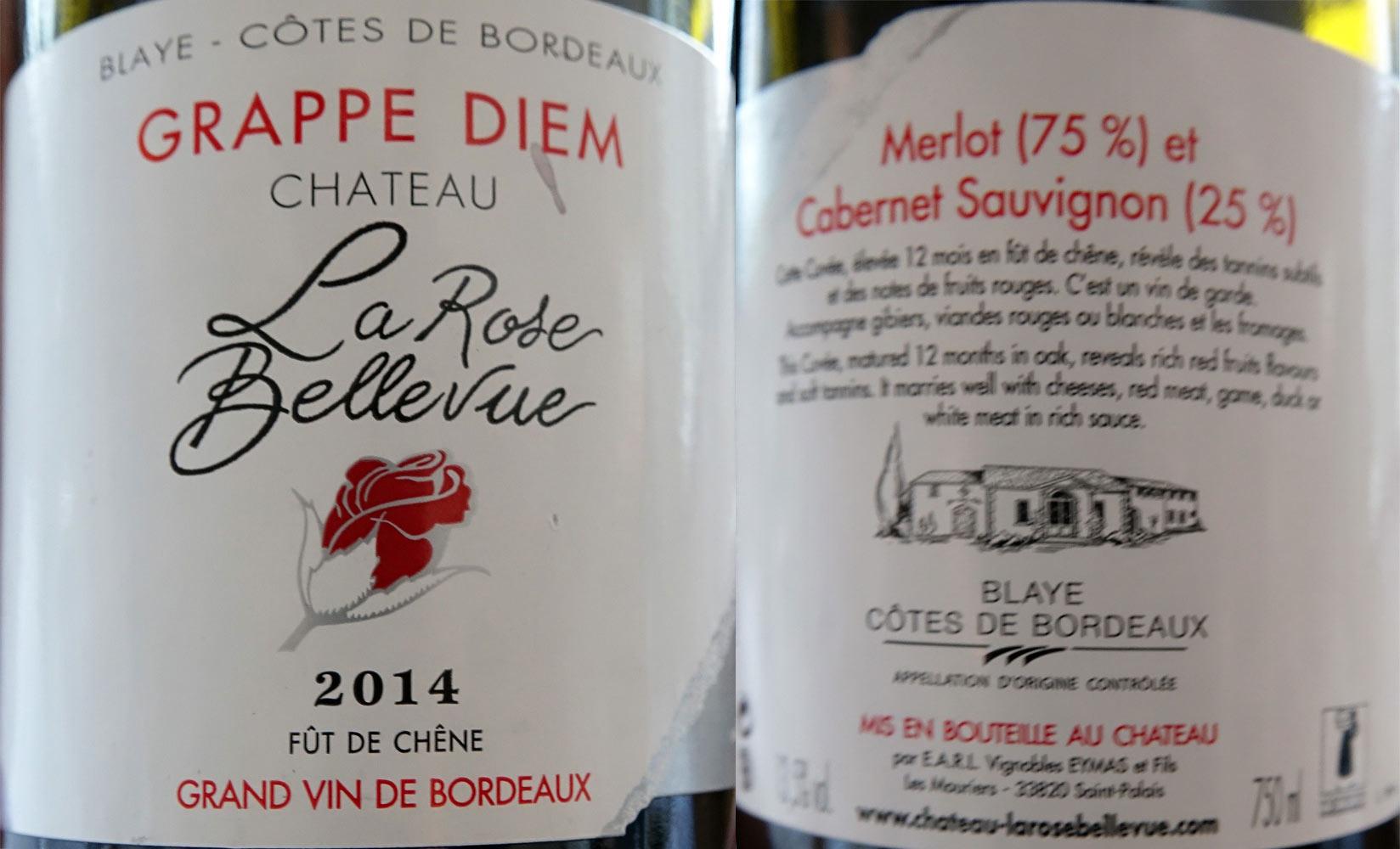 Côtes de Blaye rouge  pour l'Oeuf mollet et le Cochon