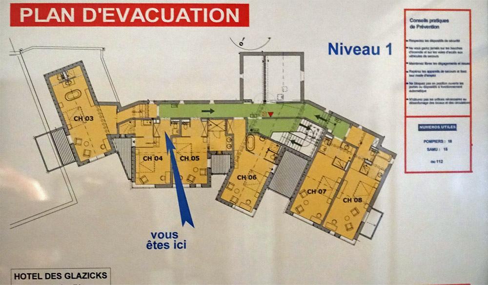 Plan de situation des chambres