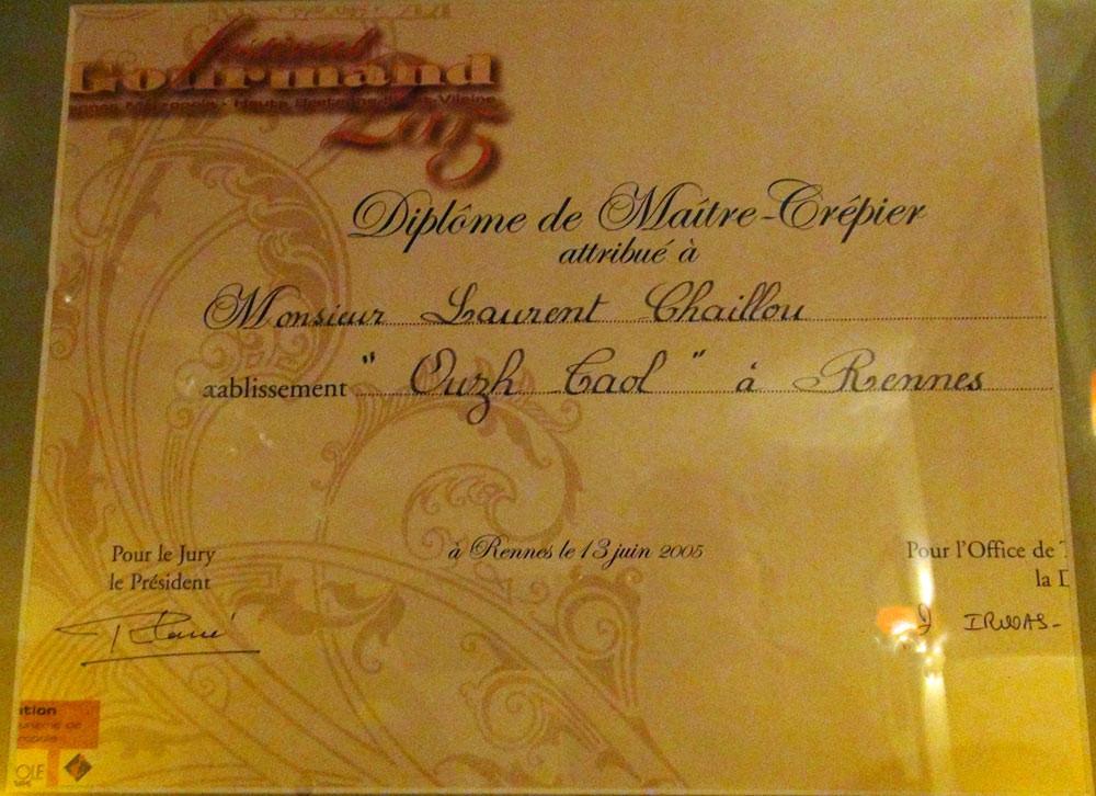 Le diplôme de Laurent