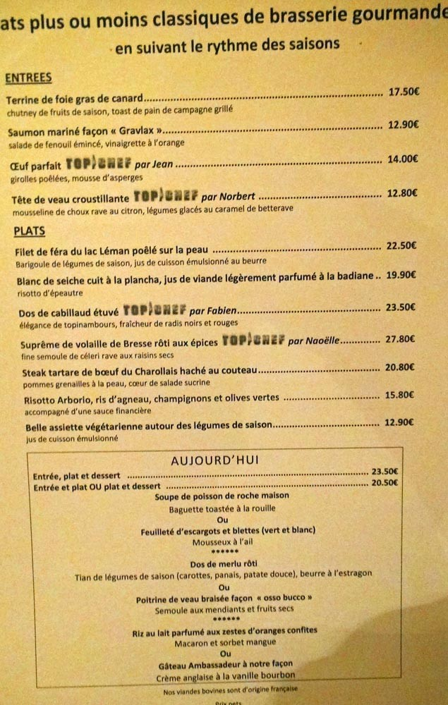 Carte et menu