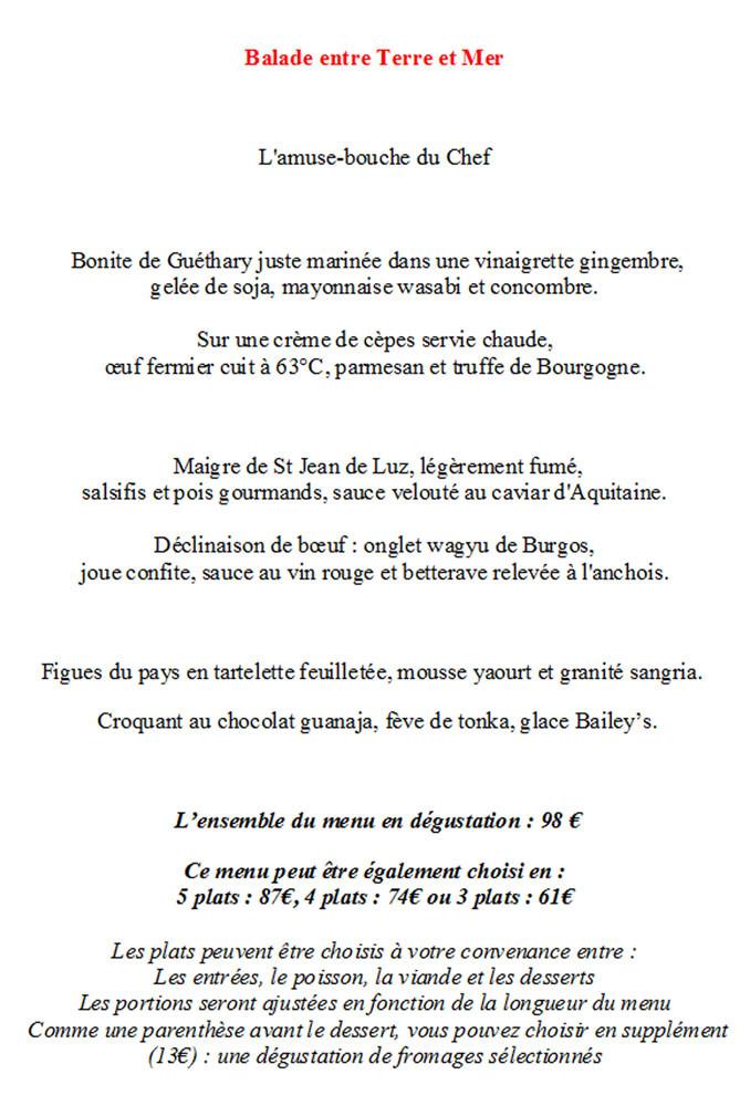"Le menu ""Balade entre terre et mer"""