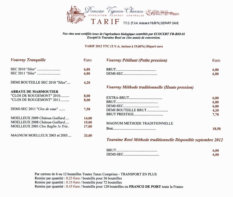 Tarif TTC 2012