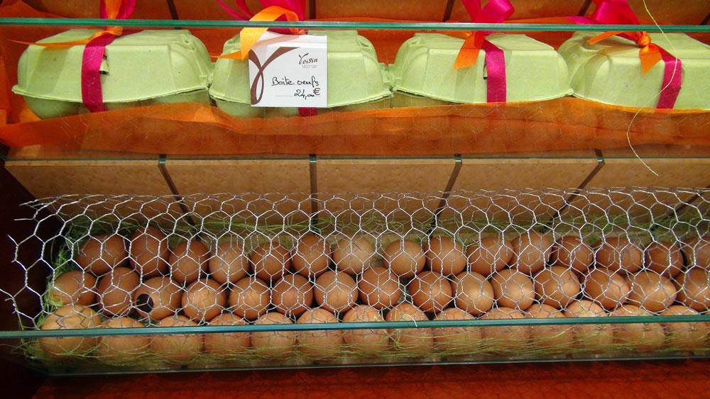 Des oeufs dans le magasin de la Place Bellecour
