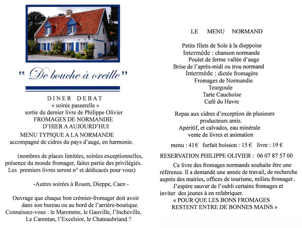 Future affichette annonçant des dîners-débats consacrés à la Normandie