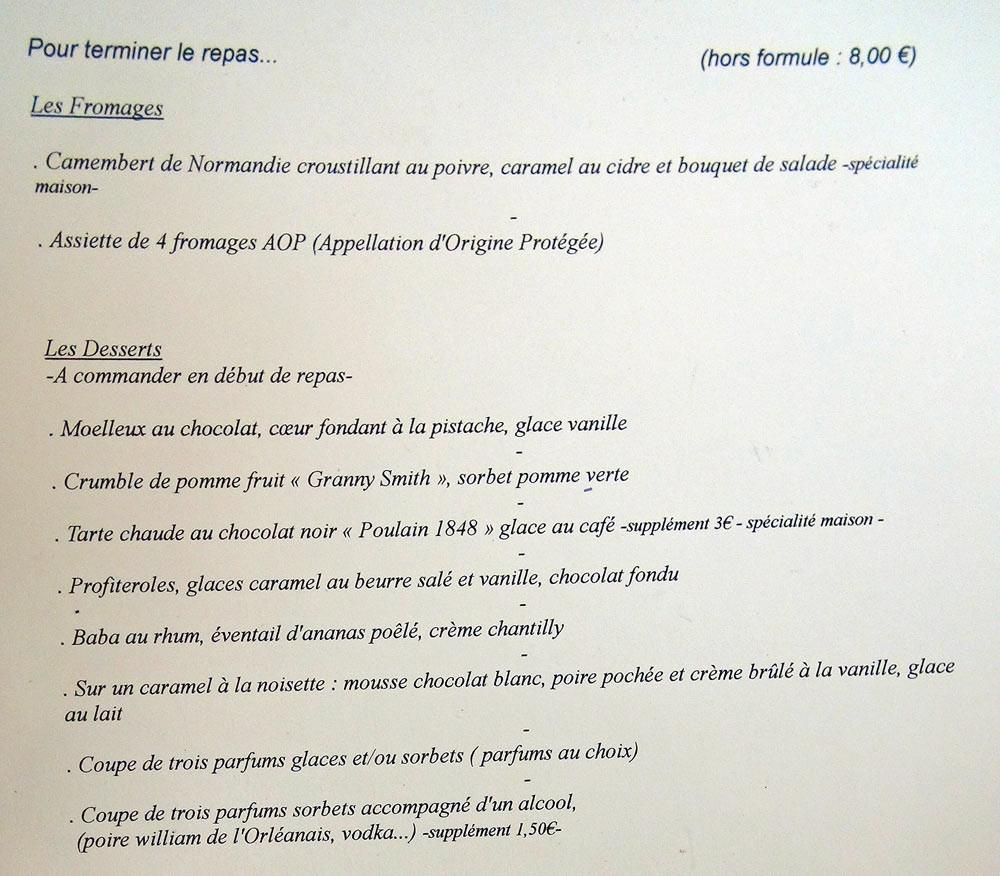 Fromages & desserts des Menus