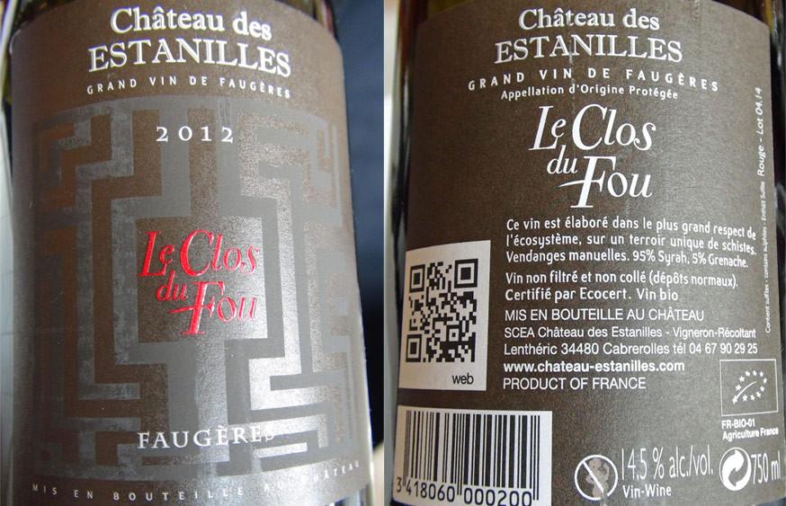 """Faugères rouge 2012 """"Le Clos du Fou"""""""